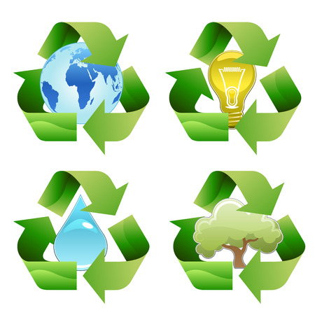 earth pollution:  recycle symbols  Illustration