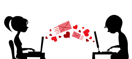 young couple sending love mail