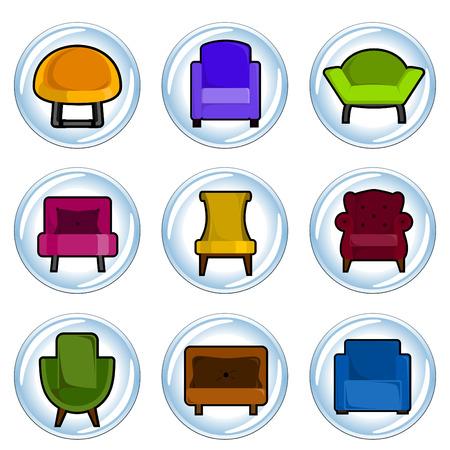 leather chair: icona di mobili  Vettoriali