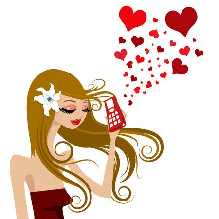 ragazza al telefono: chiamata amore  Vettoriali