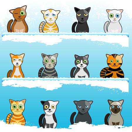 cartoon cute cats  Vector