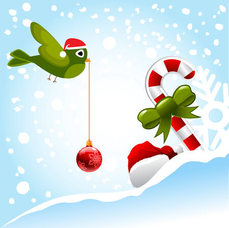 Christmas Bird und Ornamente  Illustration