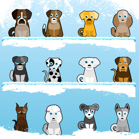 cartoon cute dogs  Vector