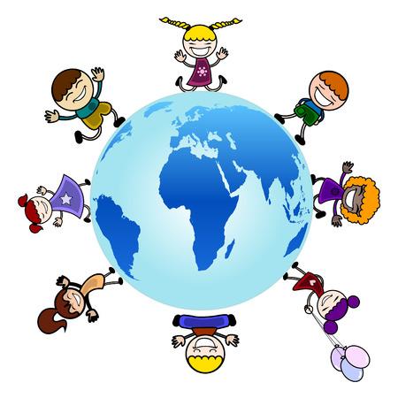 mani terra: bambini in tutto il vettore del globo