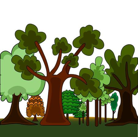 cartoon style forest  Vector