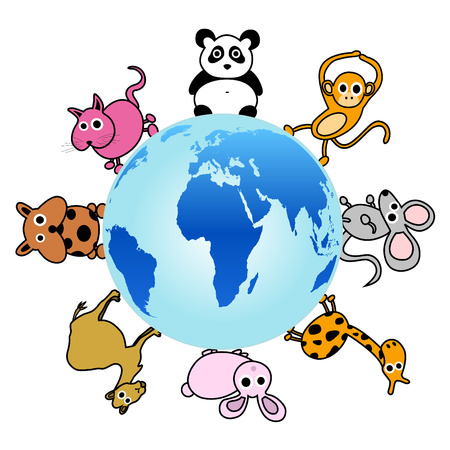 animal around the globe vector  Vector
