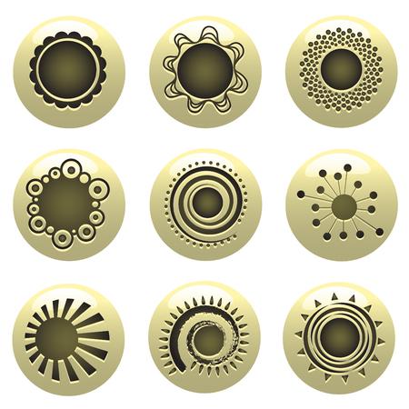 símbolos de sol Ilustración de vector