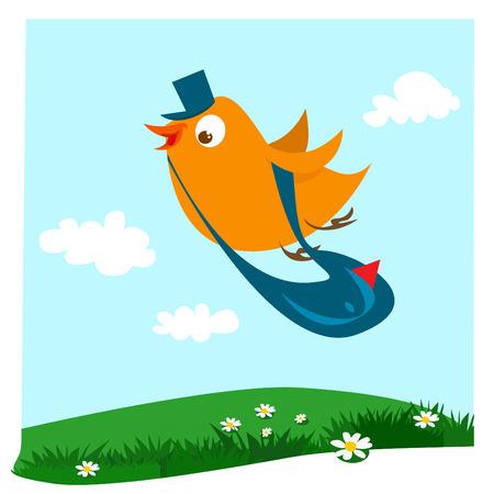 cartero: aves de cartero con fondo de primavera  Vectores