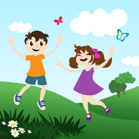 kids playing outdoor  Vector