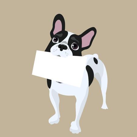 perro hueso: perro con papel de mensaje