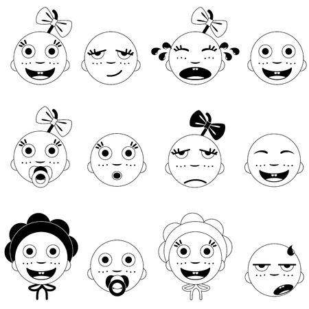 conjunto de cara de bebé