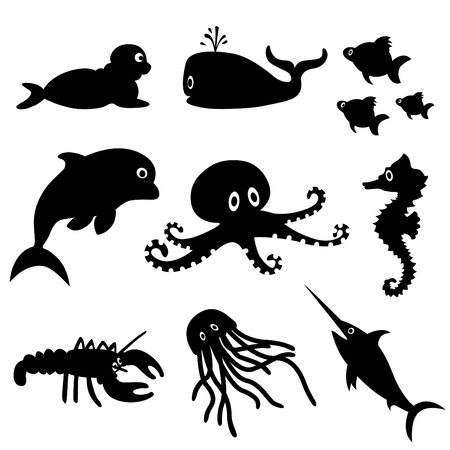 marine fish: sea life (black version)