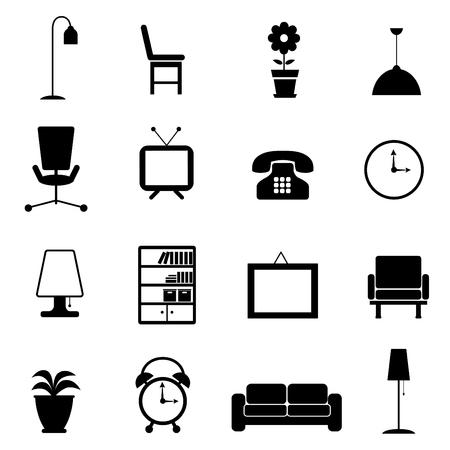 гардероб: мебель набор иконок Иллюстрация
