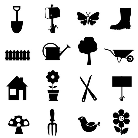 bloempot: Tuin icon set  Stock Illustratie
