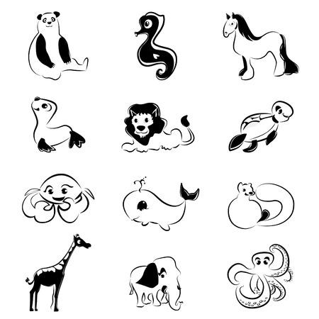 tortuga de caricatura: conjunto de animales de dibujos animados