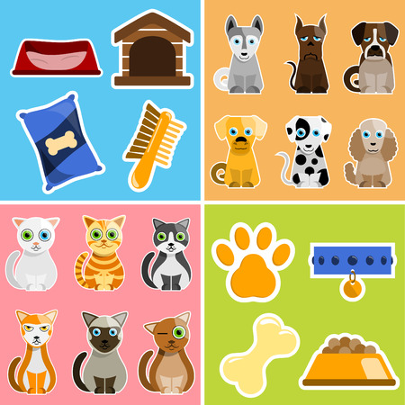 pet animals and objects  Illustration
