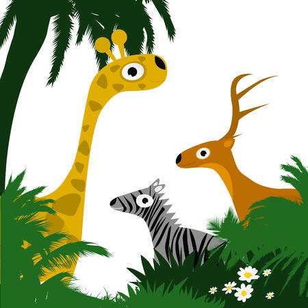 selva caricatura: animales salvajes  Vectores