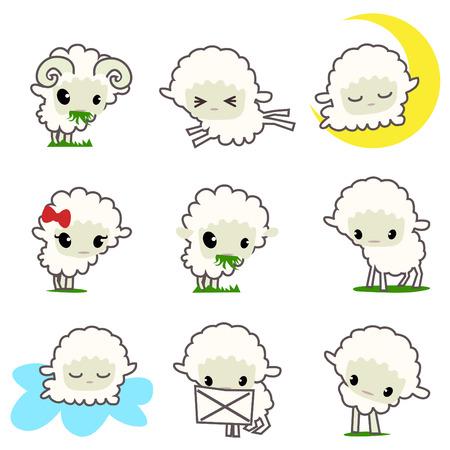 flock of sheep: cartoon sheep set  Illustration