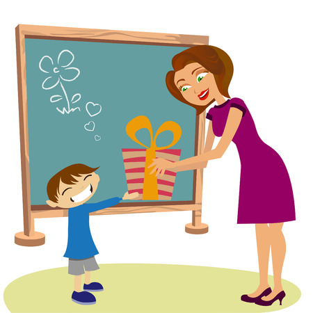 teacher student: estudiante dando regalo su maestro