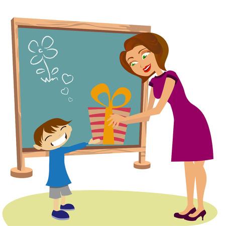 student giving gift her teacher Stock Vector - 9003610