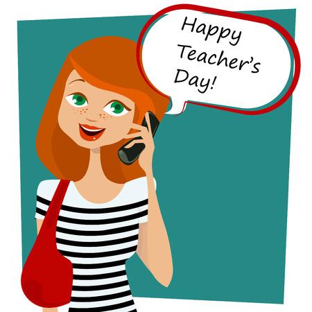 donna con telefono: messaggio per la giornata felice insegnanti  Vettoriali
