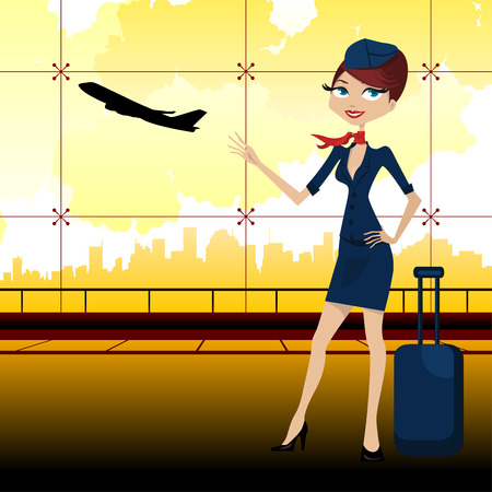 travel guide in airport  Vector