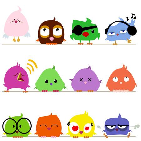 cute: cute birds set