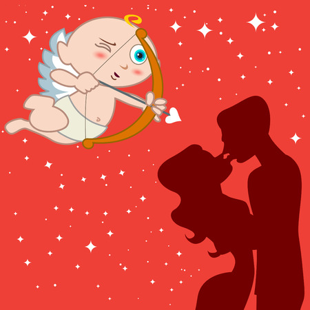 eros with couple  Vector