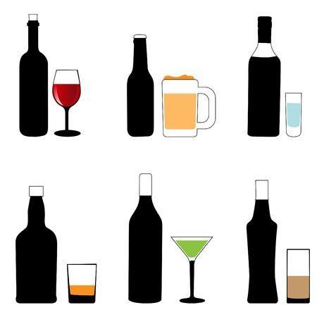 alcohol glass and bottle  Illustration