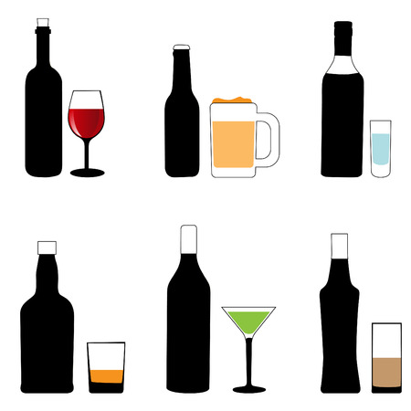 bottle of wine: alcohol glass and bottle  Illustration