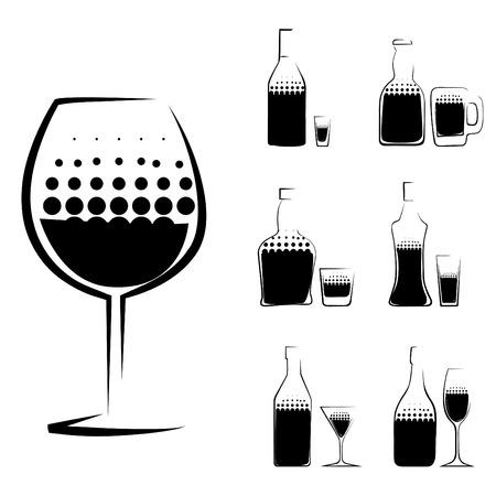 liqueur: alcohol glass and bottle  Illustration