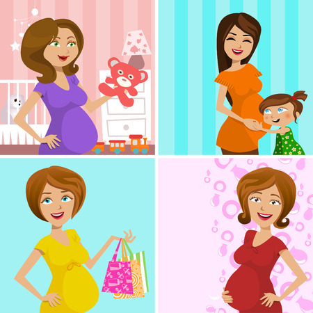 pregnant mother (four different design)  Vector