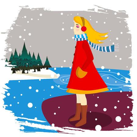 winter girl Vetores