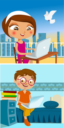 laptop home: boy and girl chatting
