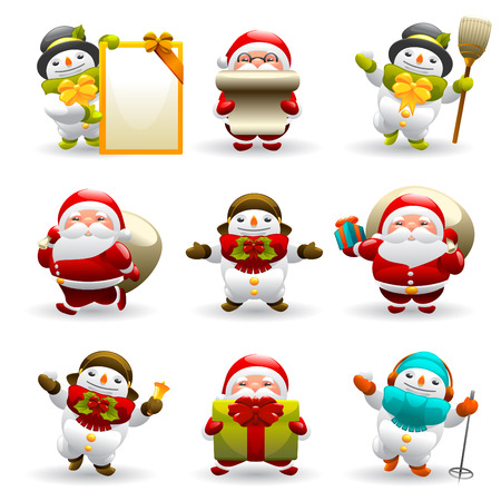 wooden hat: santa claus and snowman set  Illustration