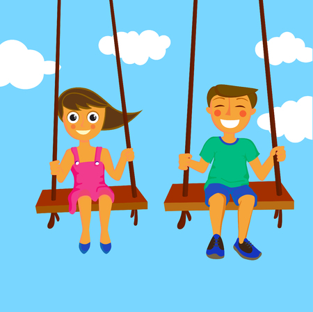 kinder: couple kids  Illustration