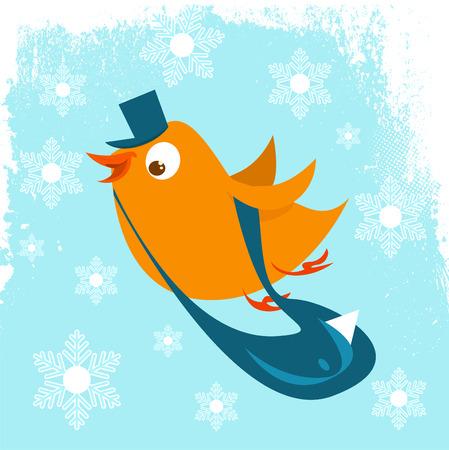 postman bird with spring background  Vector