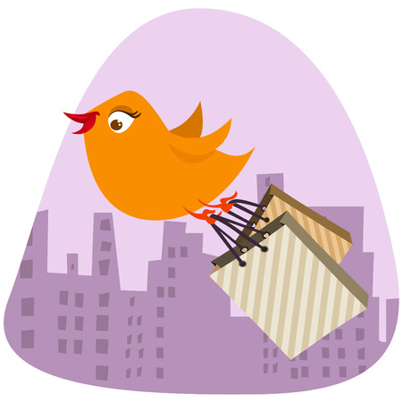 bird with shopping bag Vector