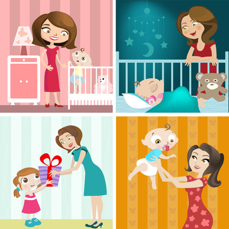 mother and baby design set  Vector