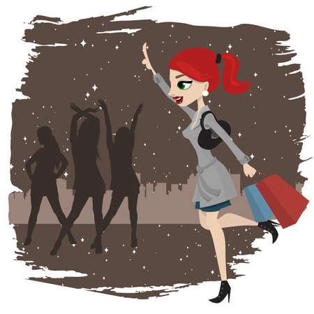 donna che corre: donna dello shopping in esecuzione