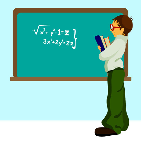 student with chalkboard Stock Vector - 9103113