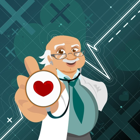 a physician: doctor with health symbol  Illustration