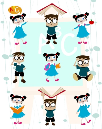 cute students cartoon set  Vector