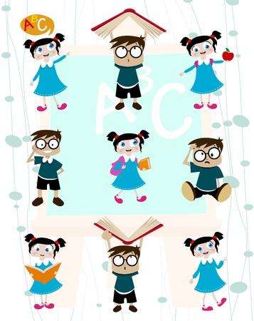 cute students cartoon set  Vector