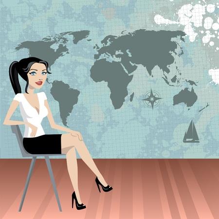 mujer de negocios con el mapa mundial