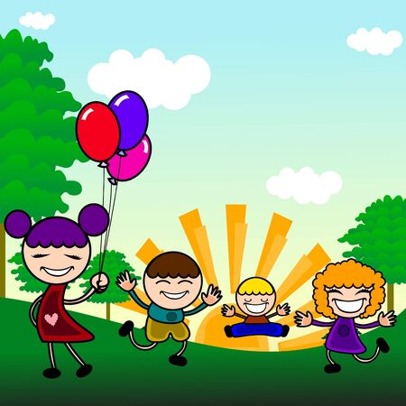 cute kids playing outdoor  Vector