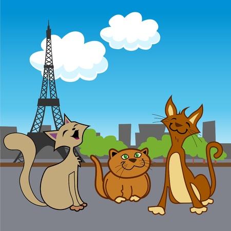 cartoon pets in paris  Illustration