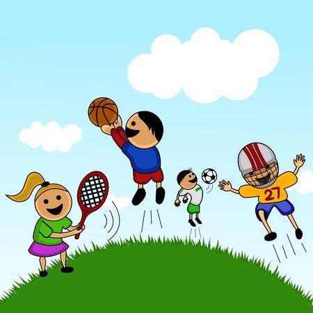 individual sports: cartoon kids playing  Illustration