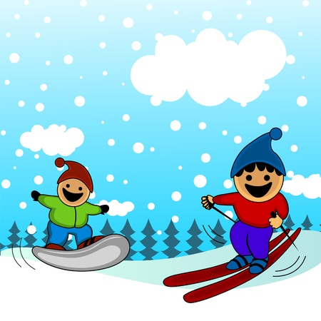 cartoon kids skiing  Vector