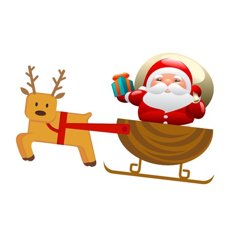 Santa with sleigh and deer Stock Vector - 11131237